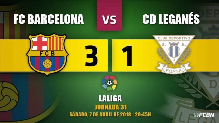 Un triplete de Messi tranquiliza a un Barça que se durmió contra el Leganés (3-1)