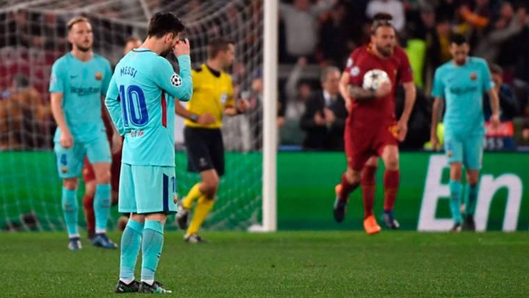 Leo Messi, desolado tras el gol de Manolas al FC Barcelona