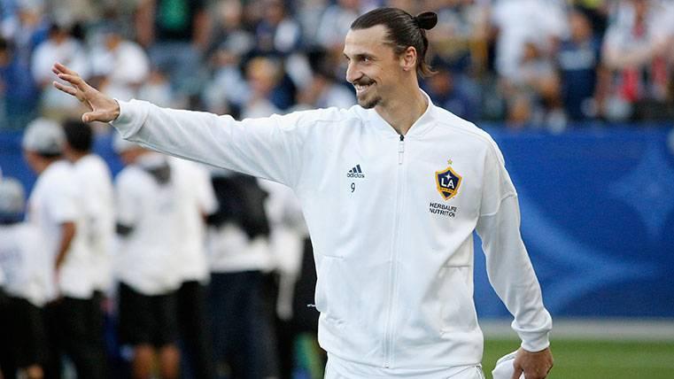 Zlatan Ibrahimovic saluda a los aficionados de Los Angeles Galaxy
