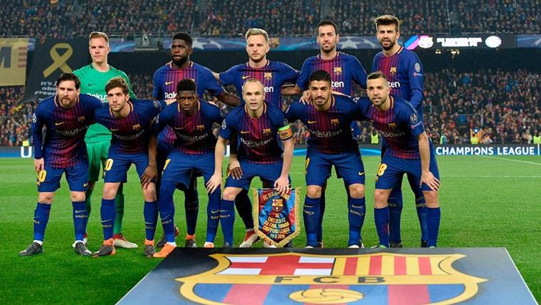 Once del FC Barcelona en un partido importante de Champions League