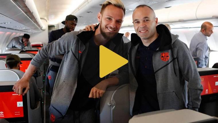 Así fue el distendido viaje del Barcelona por la final de Copa