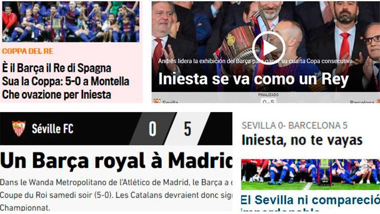 """La prensa mundial se rinde a Iniesta y al Barcelona: """"Patrimonio del fútbol"""""""