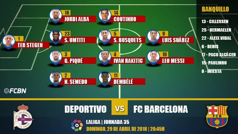 Alineaciones de la J35 de LaLiga: Deportivo-FC Barcelona