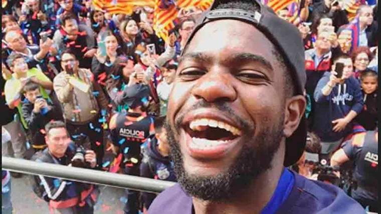 Samuel Umtiti la lió en la rúa del Barça y tuvo que pedir disculpas