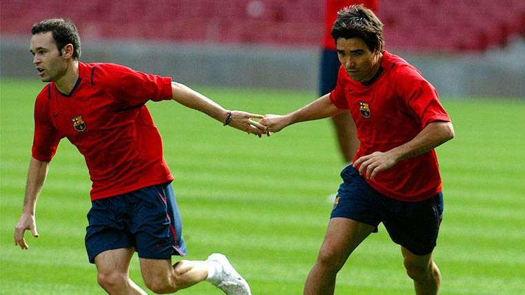 Andrés Iniesta y Deco en un entrenamiento del FC Barcelona