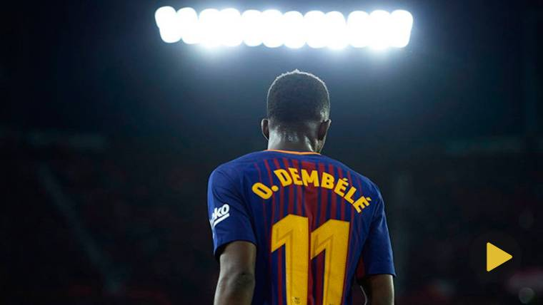 Dembélé, durante un partido con el FC Barcelona esta temporada