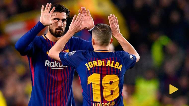 André Gomes, celebrando con Jordi Alba un gol del FC Barcelona
