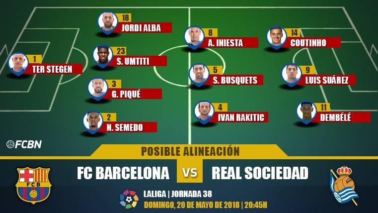 Las posibles alineaciones del Barça-Real Sociedad (LaLiga J38)
