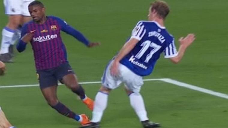 El Barça reclamó un posible penalti no pitado sobre Semedo