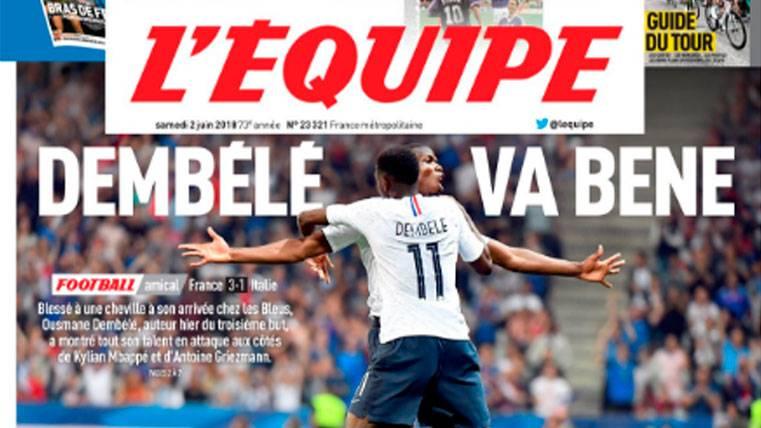 Ousmane Dembélé, protagonista de la portada de 'L'Équipe'
