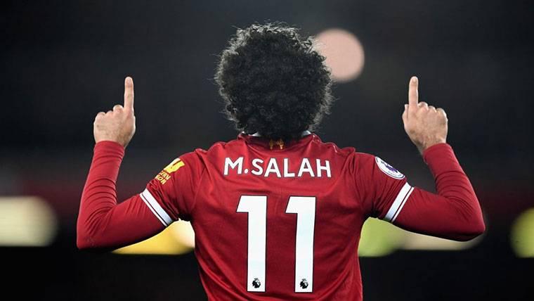 Mohamed Salah, celebrando un gol marcado con el Liverpool
