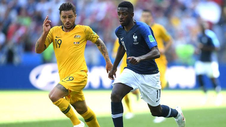 Ousmane Dembélé, durante el primer partido del Mundial de Rusia 2018