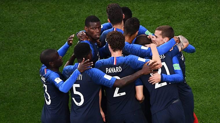 Los jugadores de la selección de Francia celebran un gol en el Mundial