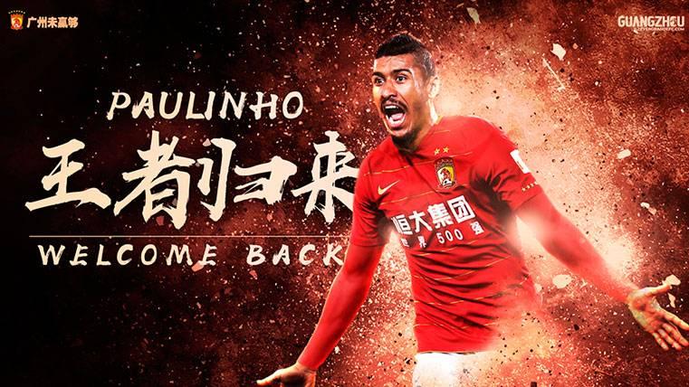 El Guangzhou publicó la noticia de la vuelta de Paulinho en su página web 998db5ae3b4