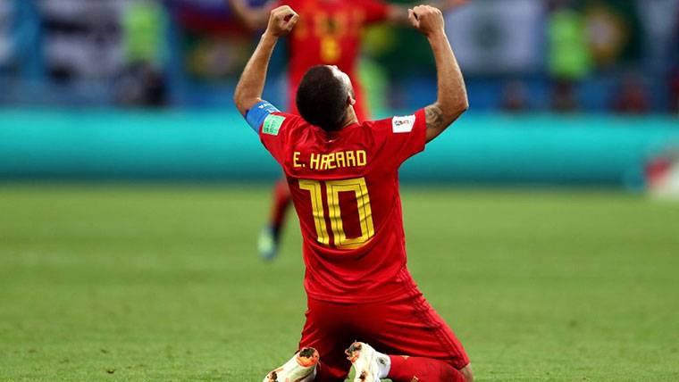 Eden Hazard, celebrando el pase de Bélgica a semifinales del Mundial