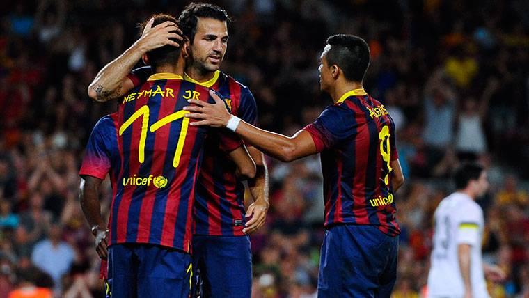 Cesc Fábregas, Neymar Jr y Alexis Sánchez, en una imagen de archivo