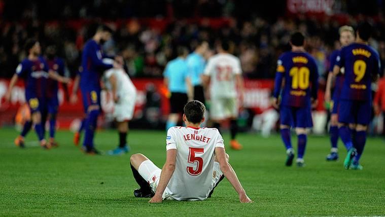 Clément Lenglet tras la victoria del FC Barcelona en la final de la Copa del Rey