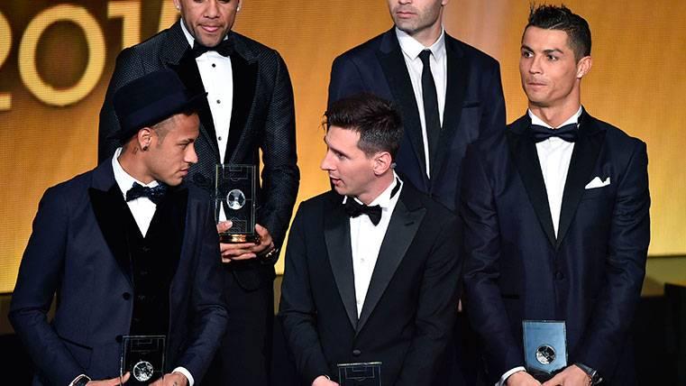 Neymar, Leo Messi y Cristiano Ronaldo en una gala de la FIFA