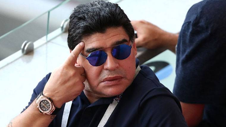 Diego Armando Maradona, durante el Mundial de Rusia 2018