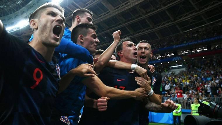 Croacia, celebrando el pase a la final del Mundial de Rusia 2018