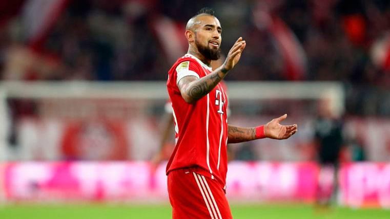 Arturo Vidal en un partido del Bayern de Múnich