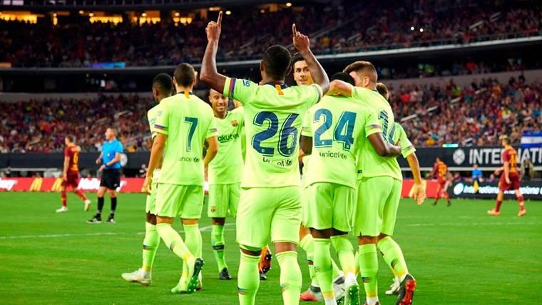 Malcom, celebrando un gol anotado con el FC Barcelona