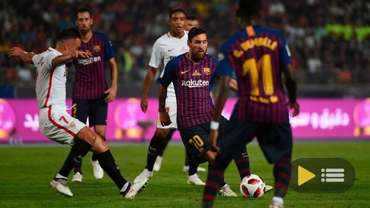 Leo Messi, durante el encuentro contra el Sevilla en la Supercopa