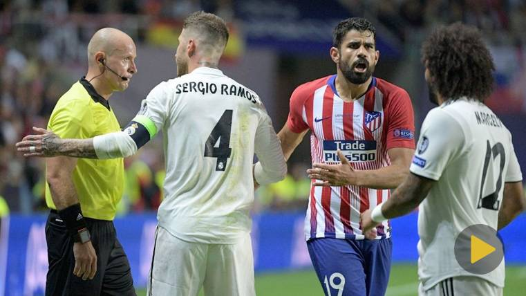 Saltaron chispas entre Sergio Ramos y Diego Costa: Codazo de uno y patada del otro