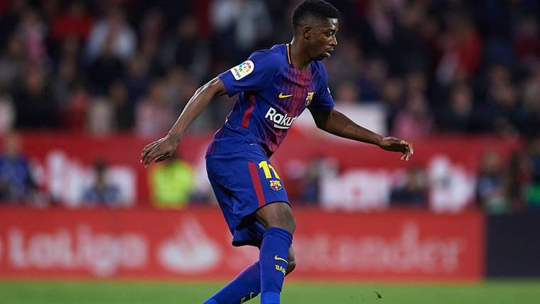Ousmane Dembélé, durante un encuentro con el FC Barcelona
