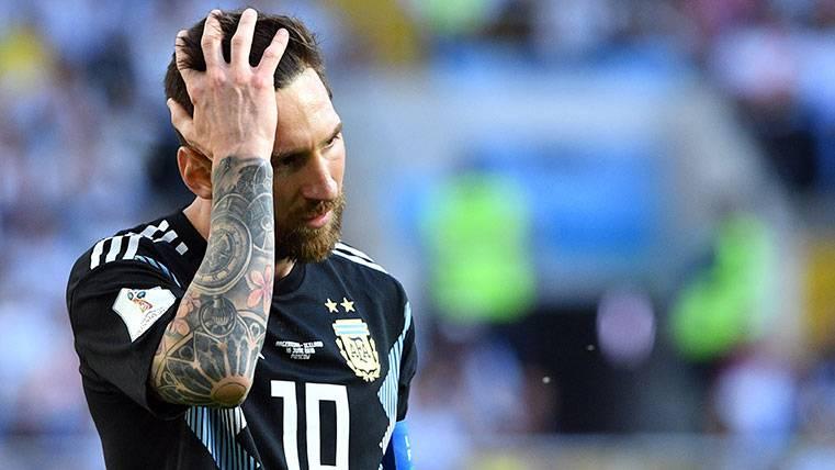 Leo Messi en un partido con la selección de Argentina