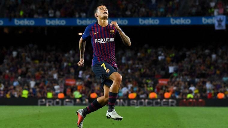Philippe Coutinho, celebrando un golazo marcado con el FC Barcelona