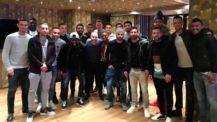 Los jugadores del FC Barcelona en la pasada cena de equipo