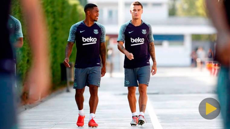 Malcom y Philippe Coutinho en un entrenamiento del FC Barcelona | FCB