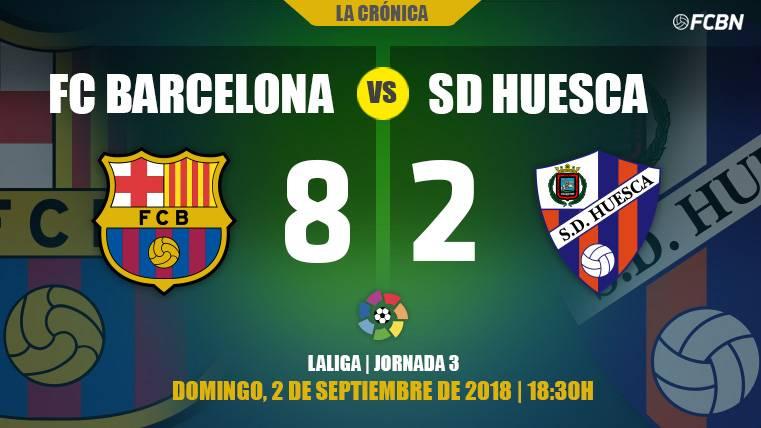 El Barça responde al susto del Huesca con festival de goles y liderato (8-2)