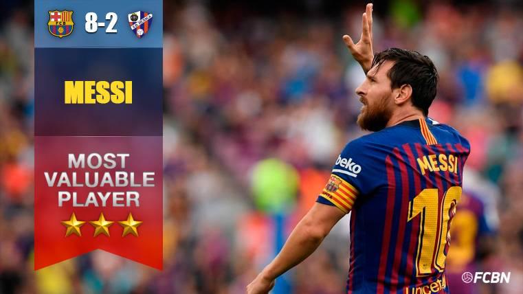 El recital de Leo Messi vale por un 'Pichichi' y liderato para el Barça