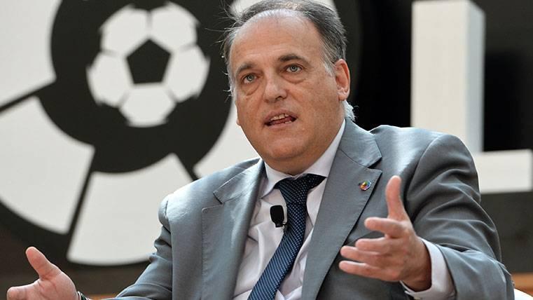 Tebas explica la iniciativa de LaLiga en EEUU y asegura que se jugará el Girona-Barça