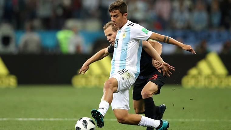 Paulo Dybala, durante un partido amistoso con Argentina