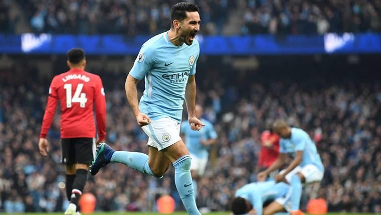 Ilkay Gündogan, celebrando un gol marcado con el Manchester City