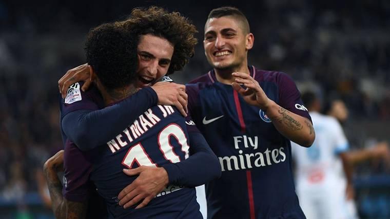 Verratti y Rabiot, celebrando un gol del PSG junto a Neymar Jr