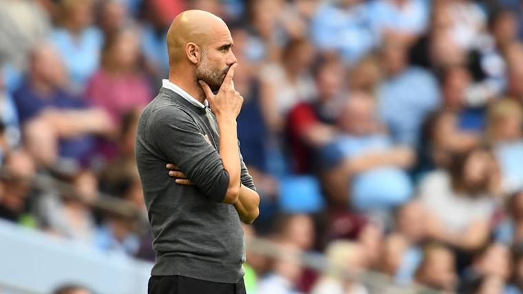 Pep Guardiola, durante un encuentro del Manchester City