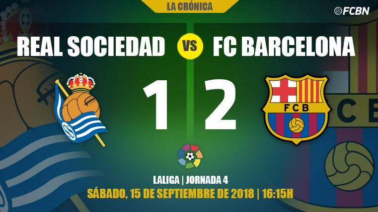 El Barça sobrevive a su peor versión en Anoeta y se salva en tres minutos de locura (1-2)