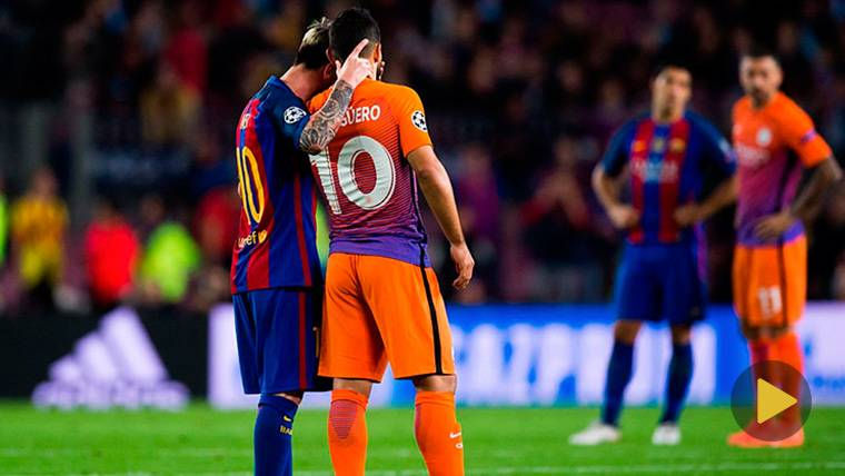 Messi participa en el 'homenaje' del Manchester City a Agüero