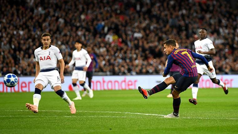¡Gol balsámico de Coutinho para adelantar al Barça en Wembley!