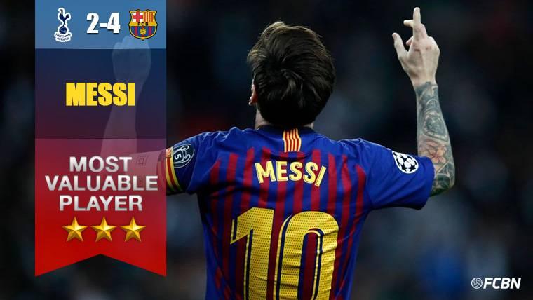 Leo Messi, 'MVP' del Tottenham-Barça y 'Pichichi' de Champions