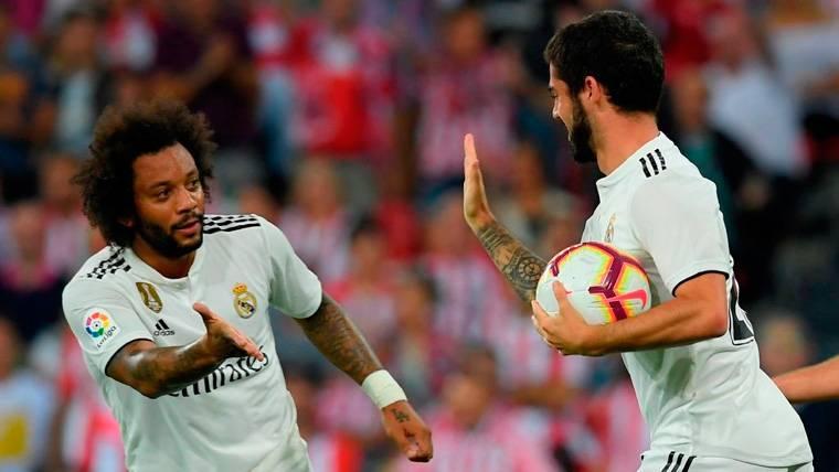 Marcelo e Isco celebran un gol del Real Madrid