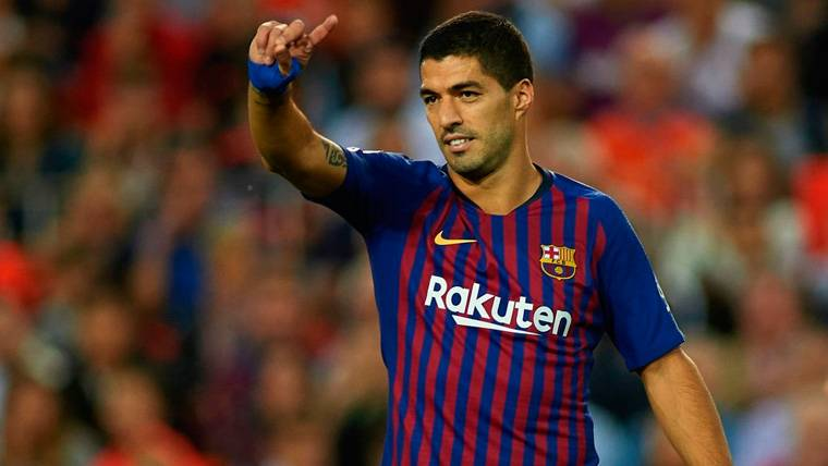 Luis Suárez en un partido del FC Barcelona