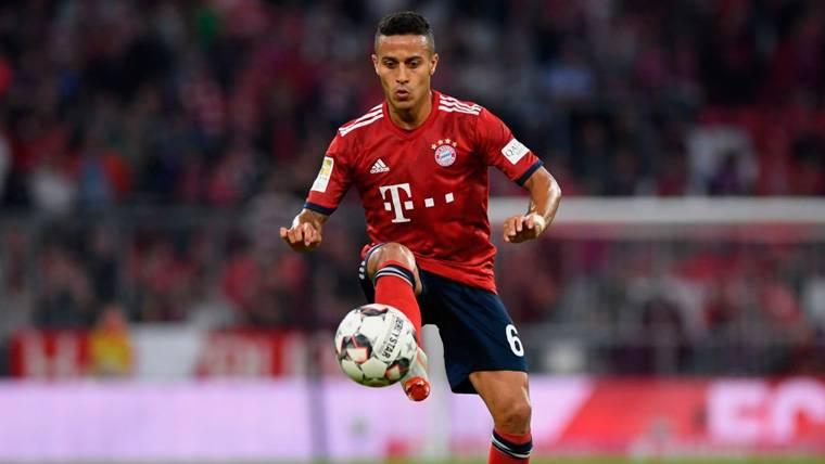 Thiago Alcántara en un partido del Bayern de Múnich