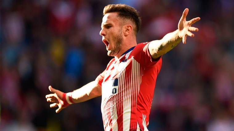 Saúl Ñíguez celebra un gol en el Atlético de Madrid