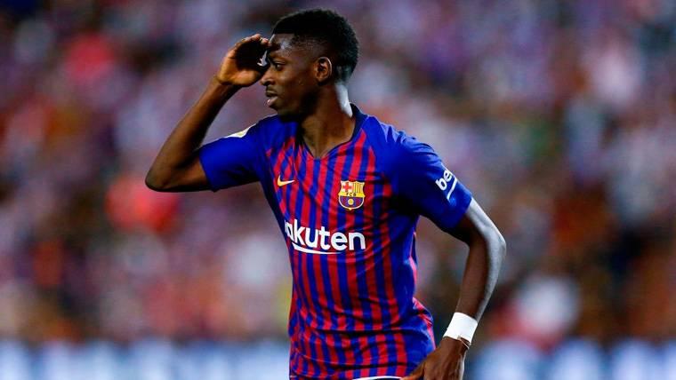 Ousmane Dembélé celebra un gol del FC Barcelona