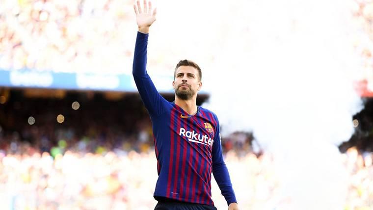 Gerard Piqué, durante la presentación del FC Barcelona en el Gamper